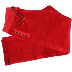 New Versace Medusa Men's Red Velvet Sweatpants Black Leather Trim sizes M, L