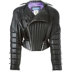80's THIERRY MUGLER Leather padded bomber jacket