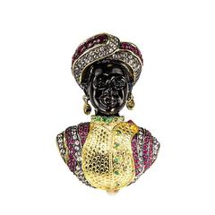 Blackamoor Ruby Emerald Gilt Sterling Silver Statement Brooch Pin Pendant