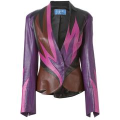 80's THIERRY MUGLER  Flame leather jacket