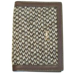 YSL SAINT LAURENT Card Holder in Brown Leather and Tweed