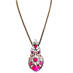 Shourouk Neon Pink/Clear Crystal Leitmotiv Zambia Necklace