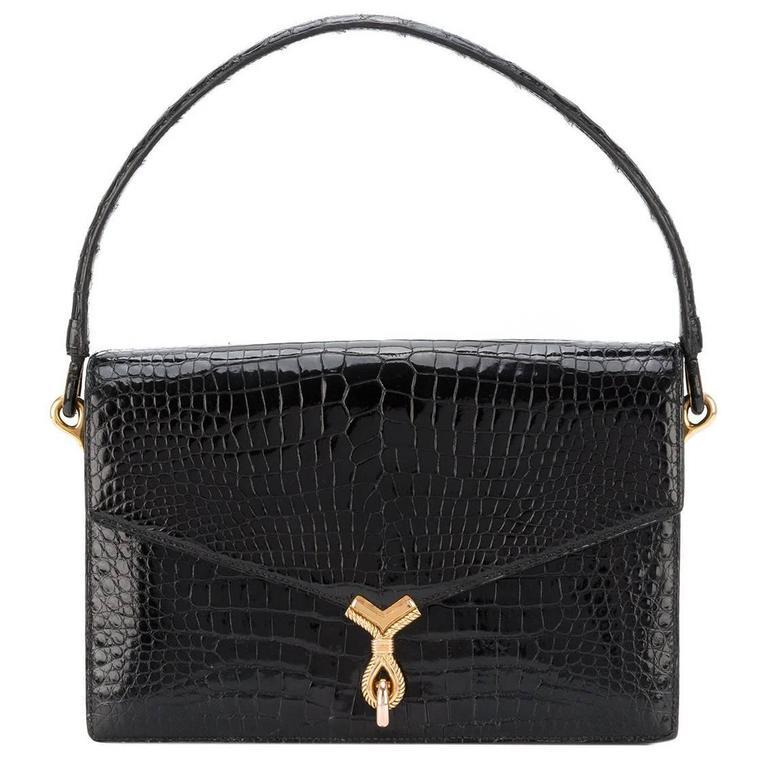 Hermes Paris Black crocodile The Cordeau bag mint condition 60s