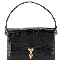 The French Hermes Elegance Black croco handbag of the 60s