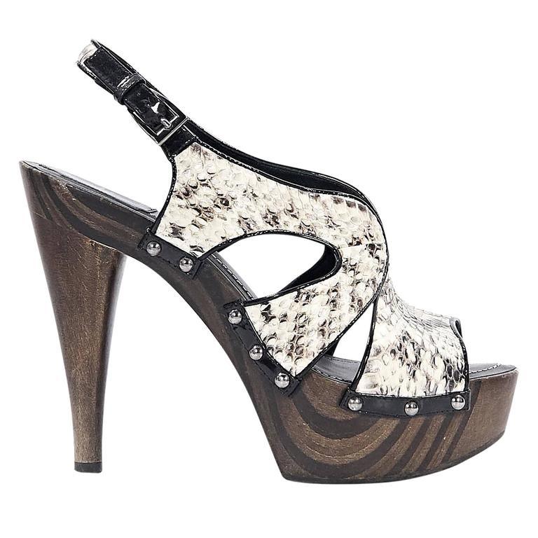 16ba510dc75 White Christian Dior Python Slingback Sandals For Sale at 1stdibs
