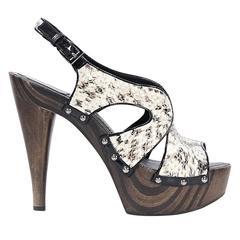 White Christian Dior Python Slingback Sandals