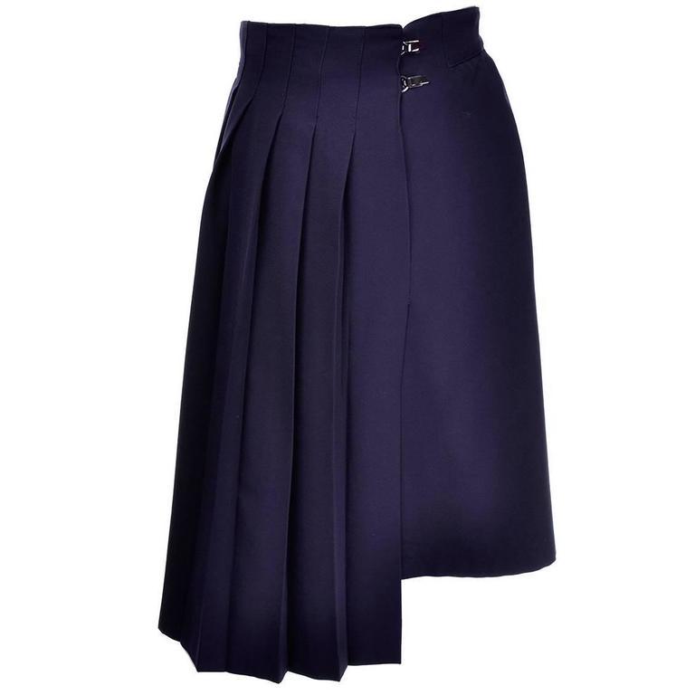 Claude Montana Avant Garde Vintage Pleated Navy Blue Wool Skirt Size 14