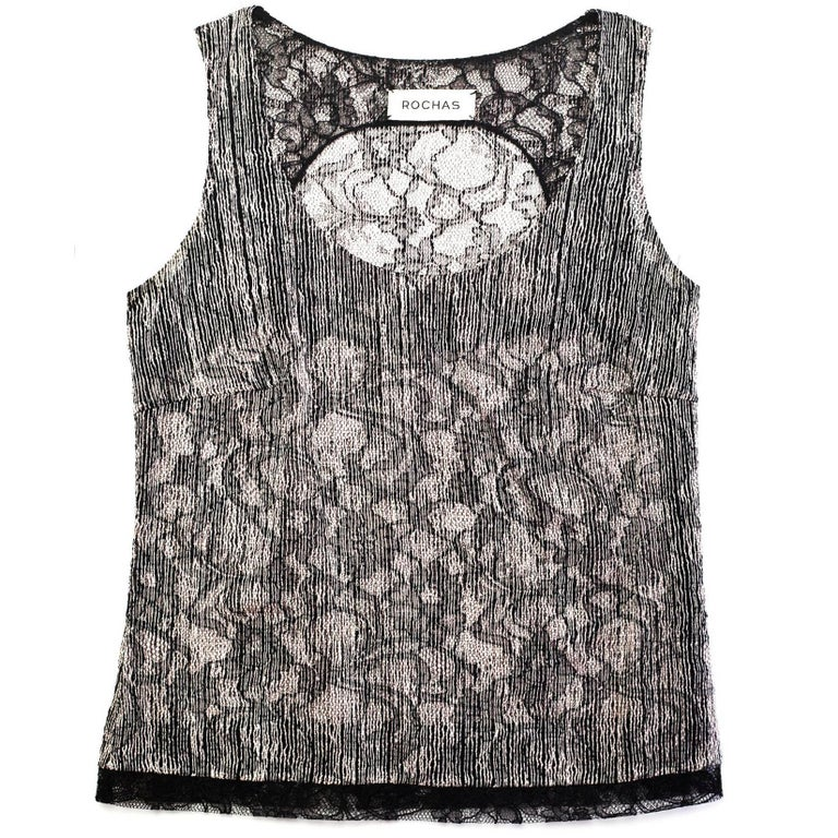 Rochas Black & Cream Sleeveless Top sz S