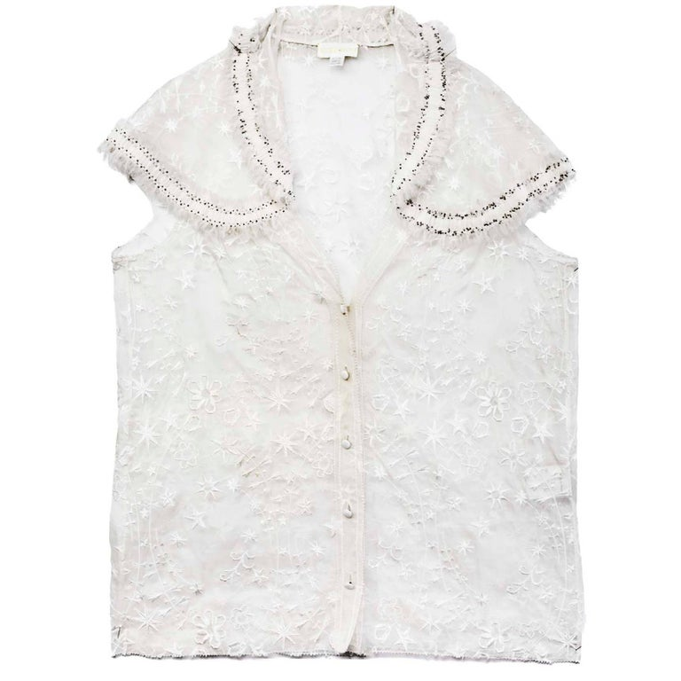 Nina Ricci White Embroidered Silk Cap Sleeve Top sz US4 For Sale
