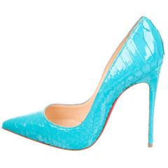 Christian Louboutin New Rare Tiffany Blue Snakeskin So Kate Heels Pumps in Box