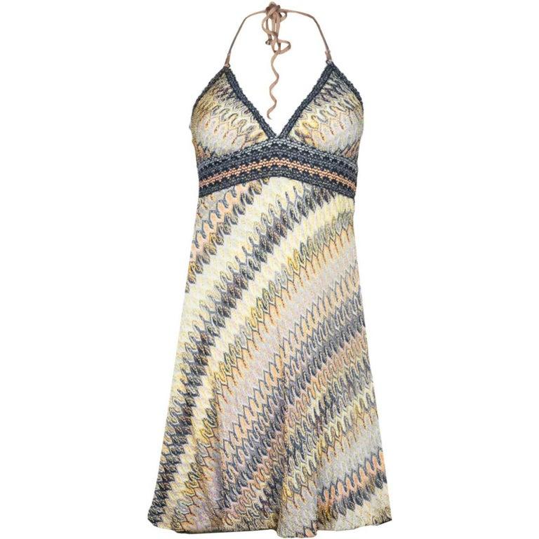 Missoni Mare Multi-Colored Knit Halter Dress sz S