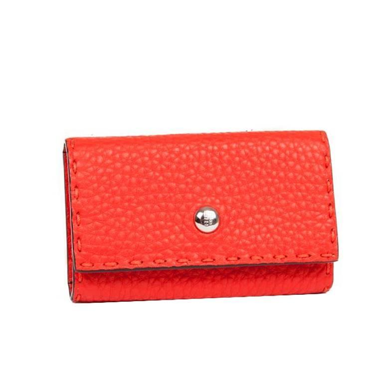 FENDI Keyring in Grained Red Leather