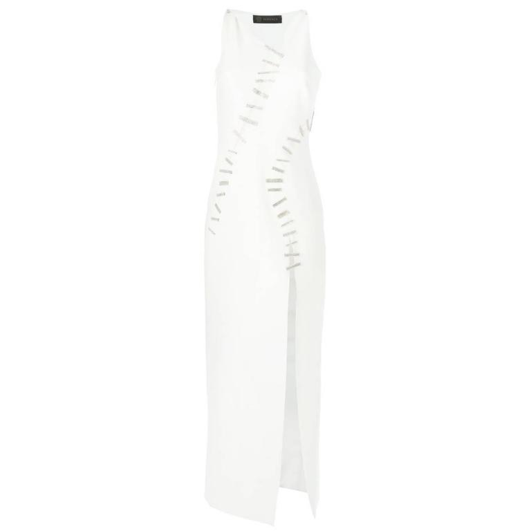 New Versace White Crystal-Embellished Silk Gown  1