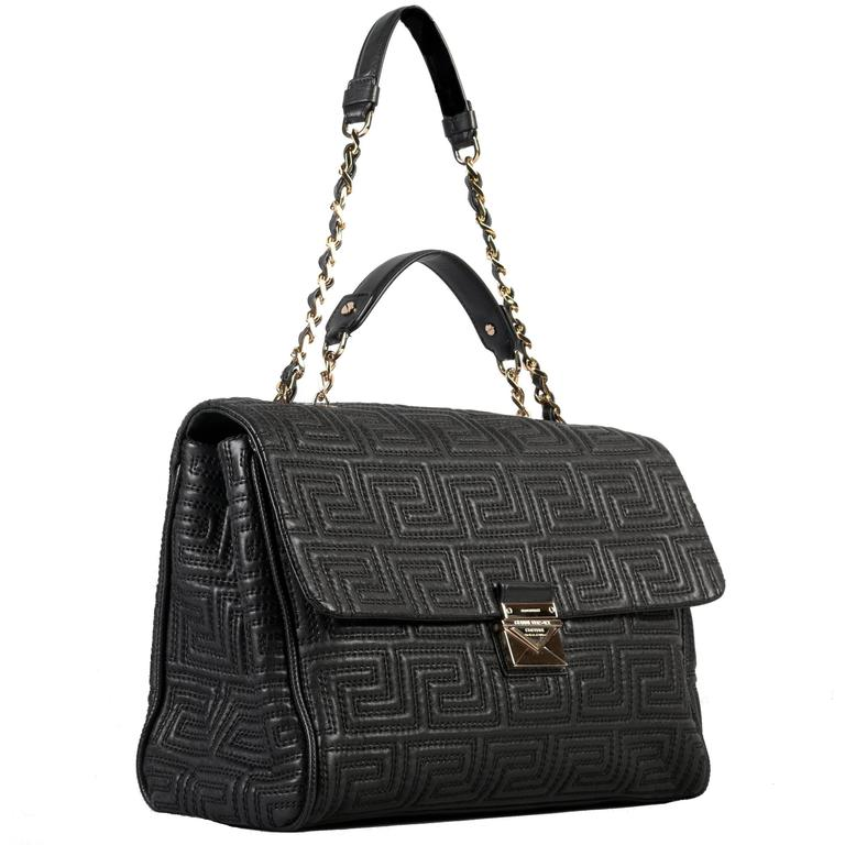 Gianni Versace Couture Large Black Quilted Leather Shoulder Day Bag For
