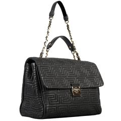 GIANNI VERSACE COUTURE large black quilted leather shoulder day bag