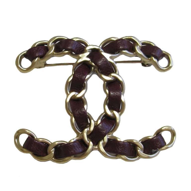 crystal tradesy brooch hardware gold with chanel i