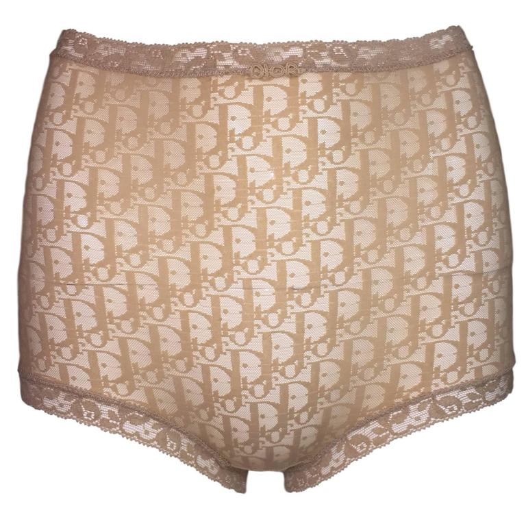 1990 s Christian Dior Monogram Sheer Nude Mesh High Waist Panties For Sale 086bc2b7cffe8
