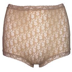 1990's Christian Dior Monogram Sheer Nude Mesh High Waist Panties