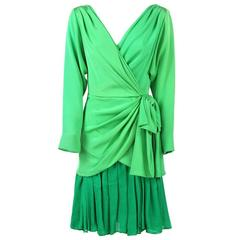 1980s Andrea Odicini Green Silk Wrap Dress