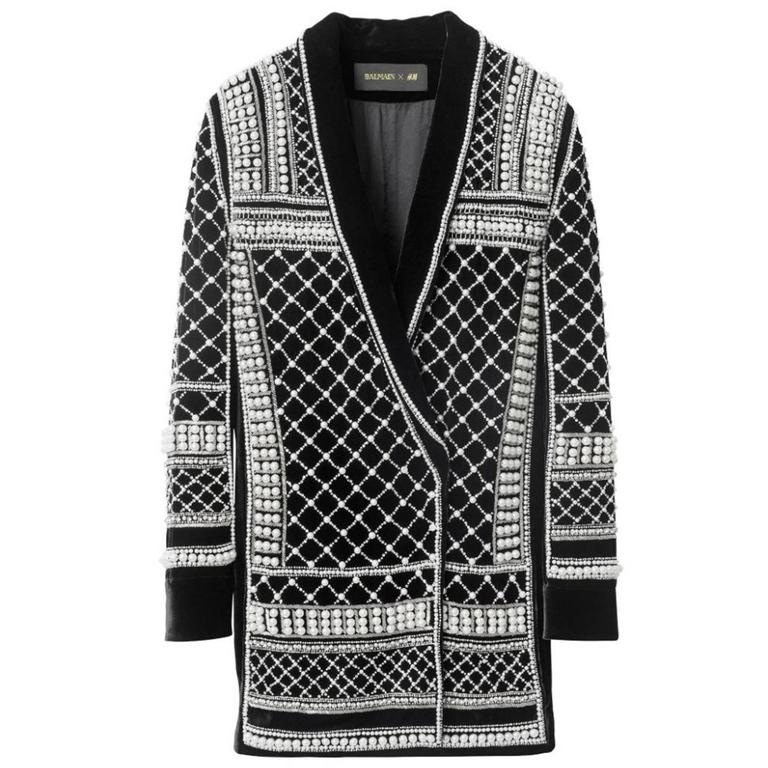 Balmain X H Amp M New Black Velvet Pearl And Crystal