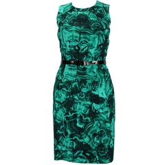 MICHAEL KORS Emerald Green Duquette's Iconic Malachite Print Coktail Dress 4
