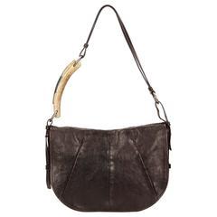 YSL Brown Leather Mombasa Shoulder Bag