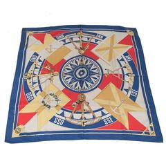 Hermes Blue Silk Scarf Sextants 1981 by Loic Dubigeon