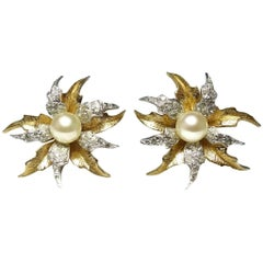 Jomaz Vintage Signed Floral Earrings, 1950s