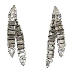 Clear Crystal Vintage Dangle Earrings, 1950s