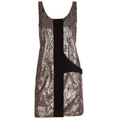Balenciaga Metallic Lace Shift Dress sz FR36