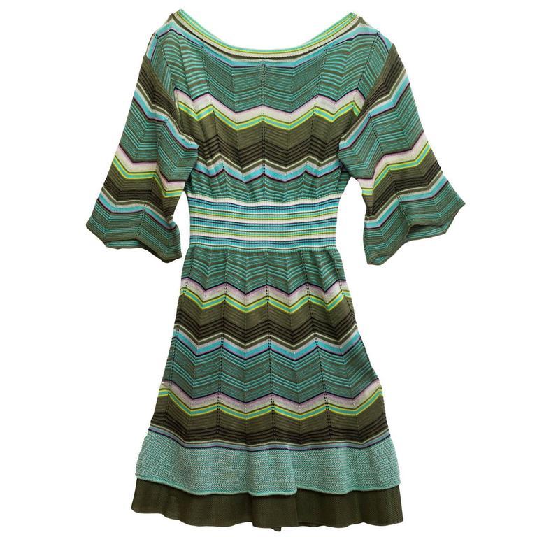 67b6cc78a9 M Missoni Green Knit 3 4 Sleeve Dress sz IT40 For Sale at 1stdibs