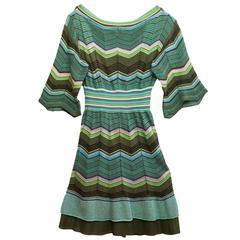 M Missoni Green Knit 3/4 Sleeve Dress sz IT40
