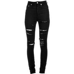 Saint Laurent Black Distressed Skinny Jeans w/ Fishnet Inset sz 25 rt. $990