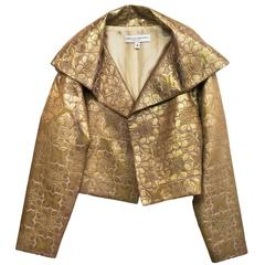 Carolina Herrera Gold Brocade Cropped Jacket sz US2