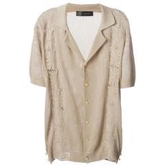 New Versace Men's Tan Cotton Macrame Dress Shirt Cardigan Italian 54