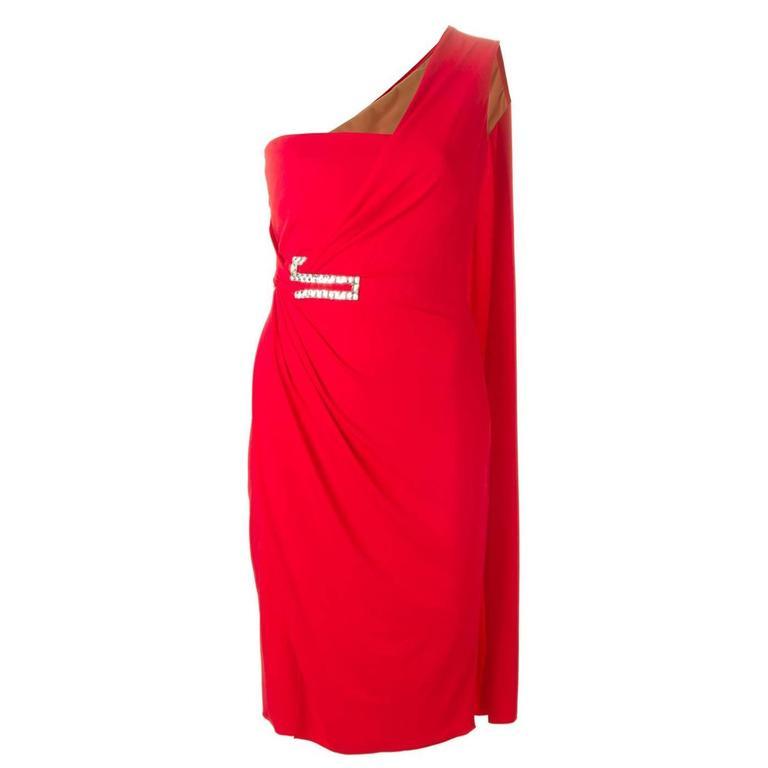 New VERSACE One Shoulder Red Jersey Cocktail Crystal Embellished Dress It 42 For Sale