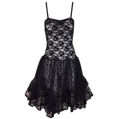 1980's Christian Dior Sheer Black Lace Mesh Crinoline Skirt Slip Dress