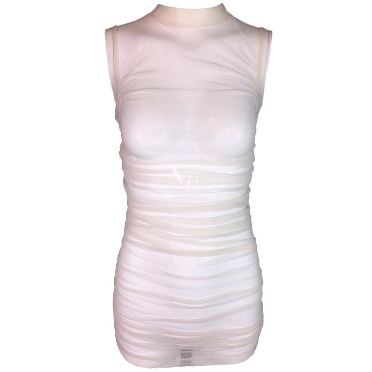 S/S 2001 Dolce & Gabbana Nude Mesh Tunic Mini Dress XS/S 38