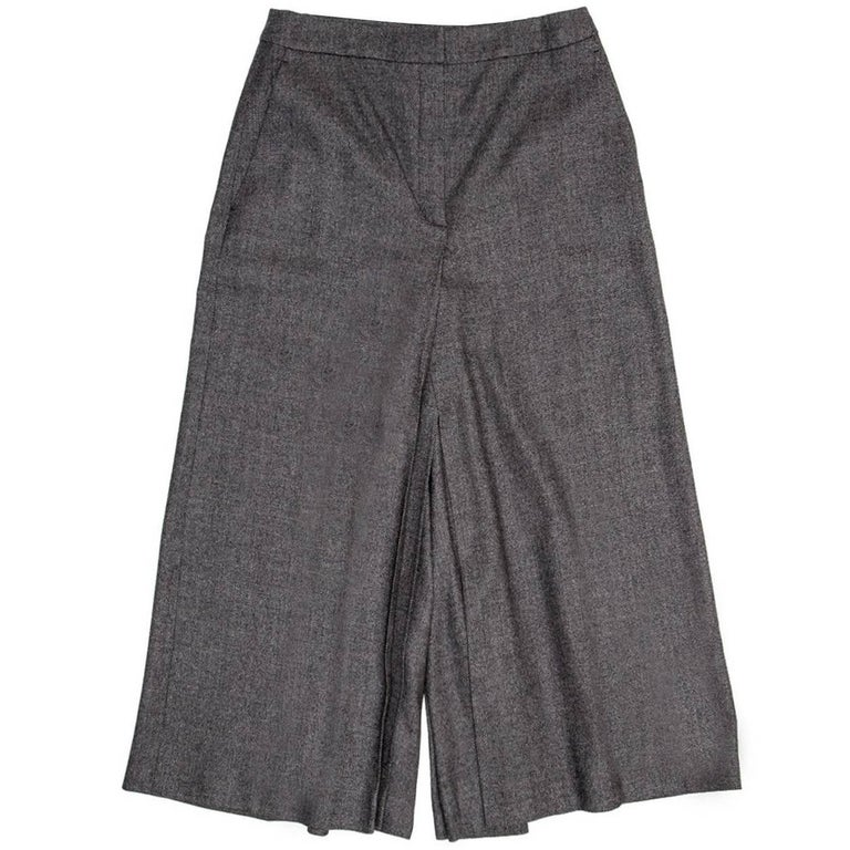 Jil Sander Grey Wool Gaucho Pants