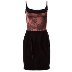 1980's Chantal Thomass Satin and Velvet Fitted Mini Dress