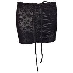 S/S 1998 Dolce & Gabbana Sheer Lace Corset Lace-up Mini Skirt