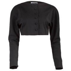 1980's Chantal Thomass Cropped Black Button-Up Jacket