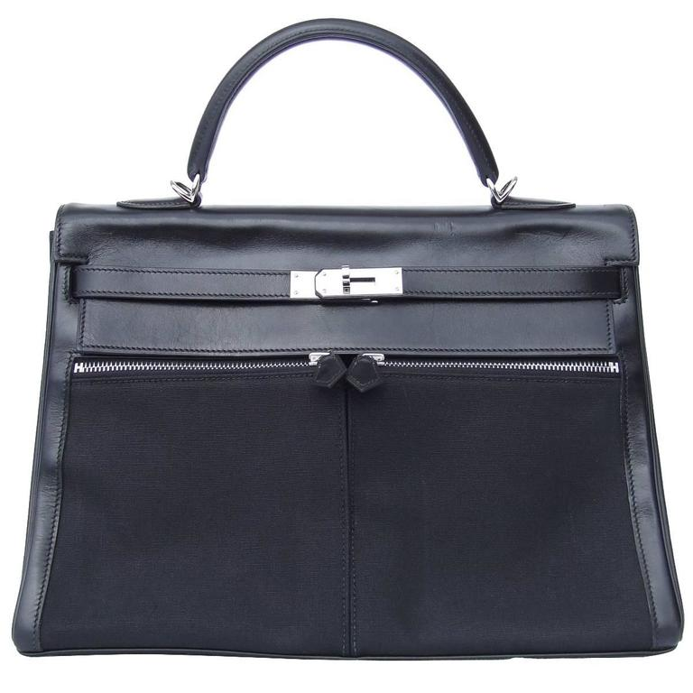 Hermes Kelly Lakis Handbag Black Toile Leather PHW 35 cm 1