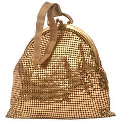 Vintage Whiting & Davis Gold Metal Mesh Wristlet Hand Bag