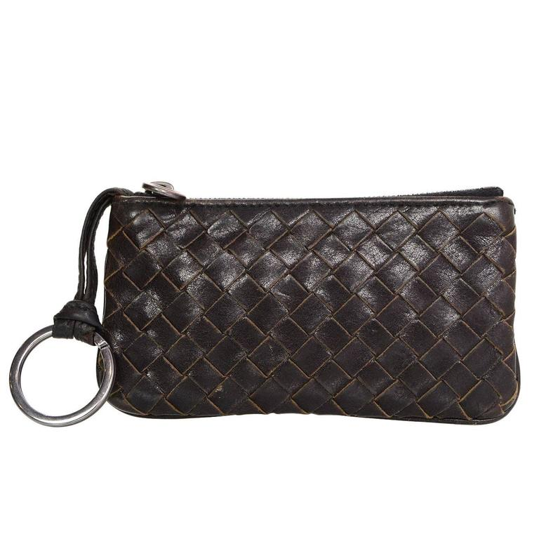 Bottega Veneta Brown Intrecciato Woven Leather Card Case/Key Holder For Sale