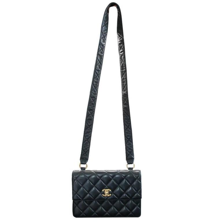 Chanel Black Lambskin Quilted Crossbody Vintage Bag with Quilted Leather Strap 1