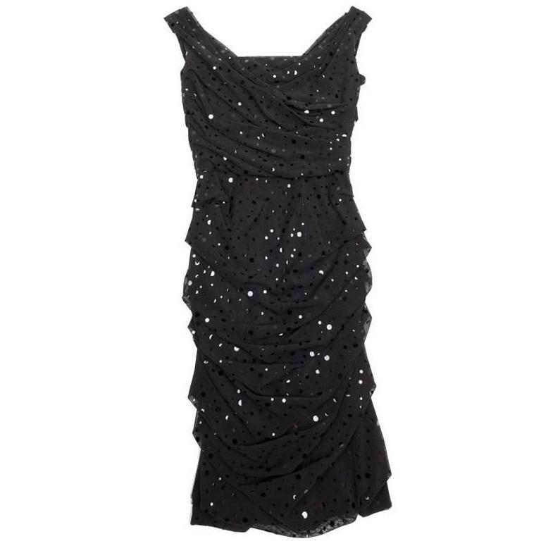 DOLCE & GABBANA Dress Size 38FR in Black Polyester with Shiny Polka Dots For Sale