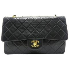 Chanel Quilting Lambskin Classic Double Flap Gold Metal Flap Bag Black