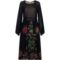 Robell 1970s Couture Black Silk Floral Chiffon Dress