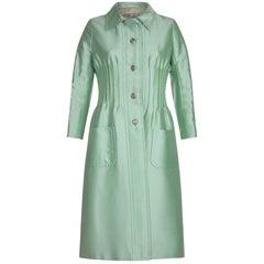Documented Valentino 1968 Silk Dress Suit in Sea Foam Green
